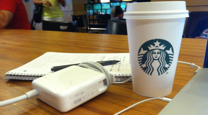 Starbucks coffee and laptop