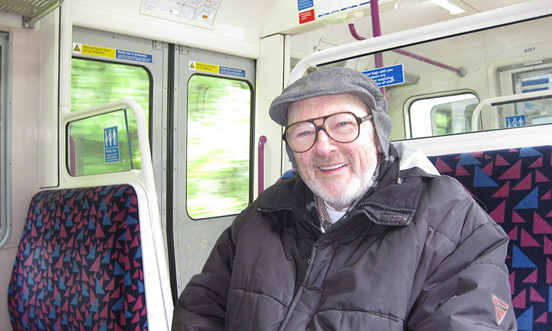 Dad on the train in England
