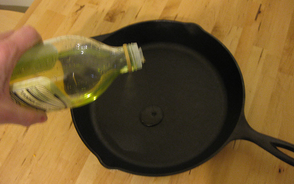 Apply a thin coat of oil or fat to your pan.